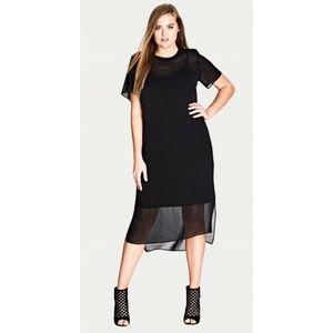 City Chic Dress 16W Plus Dress 1X Black S/S
